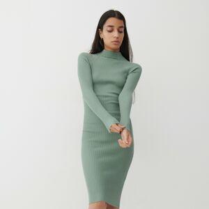 Reserved - Úpletové proužkované šaty - Tyrkysová