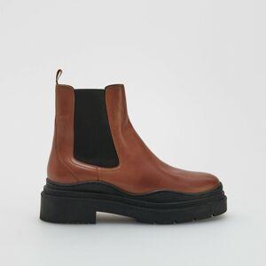 Reserved - Kožené kotníčkové boty - Hnědá