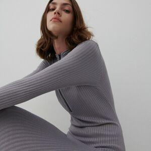 Reserved - Midi šaty skapucí - Stříbrná