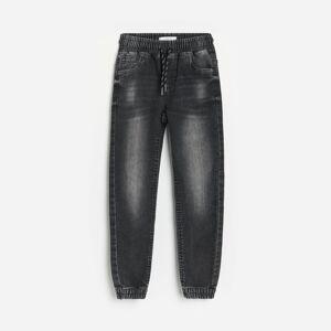 Reserved - Kalhoty joggers vyrobené zextrémně jemné džínoviny - Černý