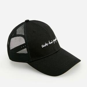 Reserved - Bavlněná kšiltovka svyšívaným nápisem - Černý