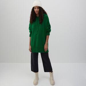 Reserved - Propínací svetr s kapucí - Zelená