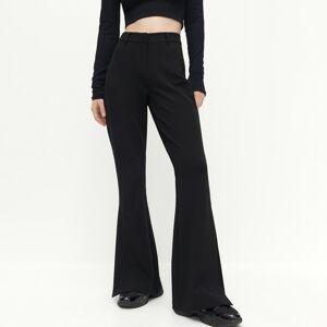 Reserved - Žerzejové kalhoty svysokým pasem - Černý