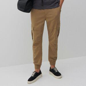 Reserved - Kalhoty cargo joggers slim fit - Béžová