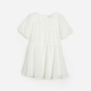 Reserved - Šaty z látky plumeti - Krémová