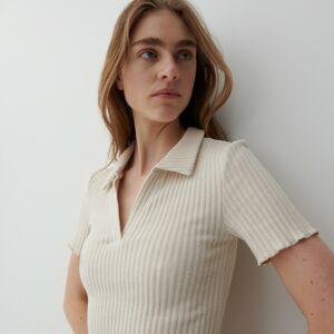 Reserved - Žebrované polokošilové šaty zžerzejového úpletu - Krémová