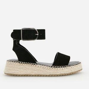 Reserved - Kožené sandály na rovné platformě - Černý