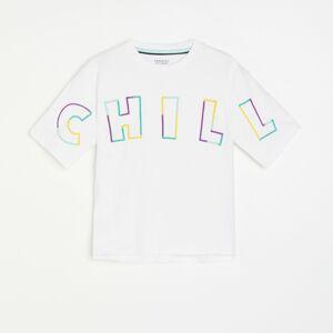 Reserved - Bavlněné tričko s popisem - Bílá