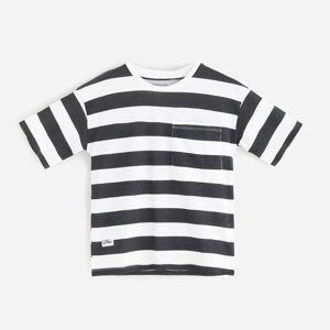 Reserved - Pruhované bavlněné tričko - Černý