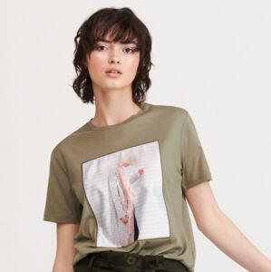 Reserved - Tričko ze směsi bavlny amodalu - Khaki