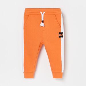 Reserved - Kalhoty joggers skontrastními postranními pruhy - Oranžová