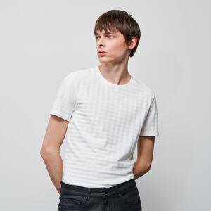 Reserved - Tričko ze strukturovaného žerzeje - Krémová