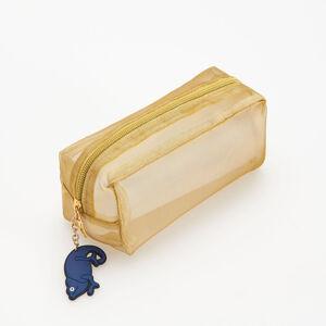 Reserved - Průsvitná kosmetická taška spřívěskem - Zlatá