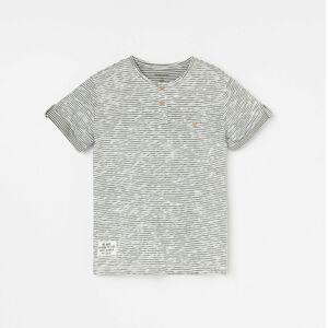 Reserved - Bavlněné pruhované tričko sesepraným efektem - Krémová