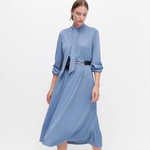 Reserved - Šaty s vazačkou u krku - Modrá