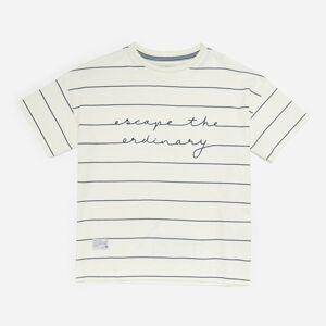 Reserved - Bavlněné pruhované tričko - Krémová