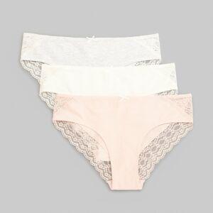 Reserved - Sada 3kusů kalhotek svysokým podílem bavlny akrajkovým lemováním - Světle šedá
