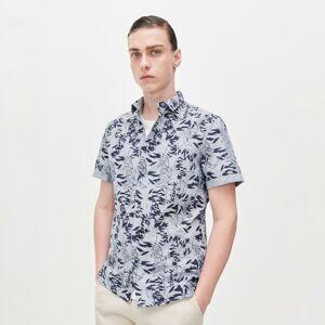 Reserved - Vzorovaná bavlněná košile skrátkými rukávy - Tyrkysová