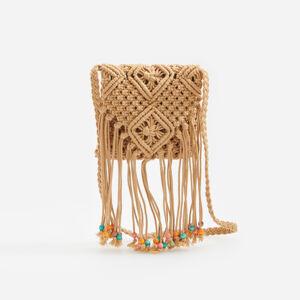 Reserved - Pletená kabelka zdobená třásněmi -