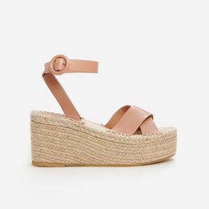 Reserved - Sandály espadrilky na rovné platformě - Béžová