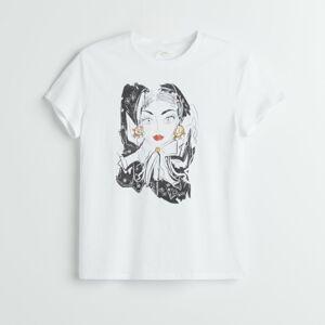 Reserved - Tričko sgrafikou RE ART - Bílá
