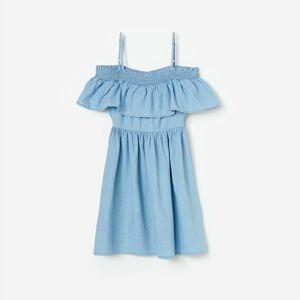 Reserved - Bavlněné šaty se spadlými rameny - Modrá