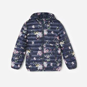 Reserved - Květovaná prošívaná bunda - Tmavomodrá