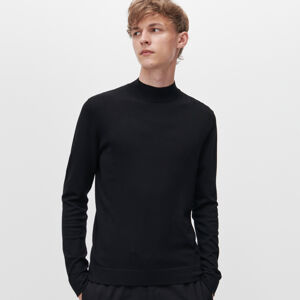 Reserved - Hladký svetr spolorolákem - Černý