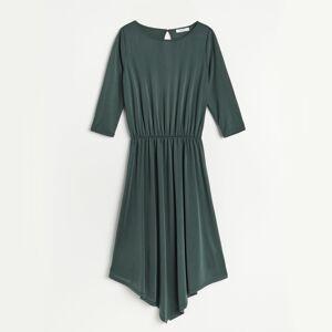 Reserved - Asymetrické šaty svysokým podílem modalu - Khaki