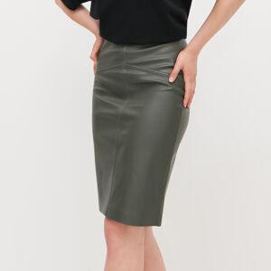 Reserved - Pouzdrová sukně zimitace kůže - Khaki