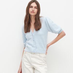 Reserved - Huňatý svetr skrátkými rukávy - Modrá