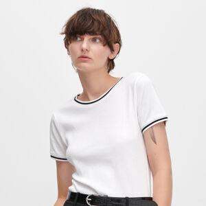 Reserved - Tričko zžebrovaného úpletu sžebrovanými lemy - Bílá