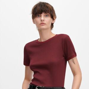 Reserved - Tričko zžebrovaného úpletu sžebrovanými lemy - Bordó