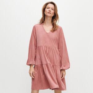 Reserved - Šaty zimitace semiše - Růžová