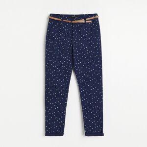 Reserved - Vzorované kalhoty chino spáskem - Tmavomodrá
