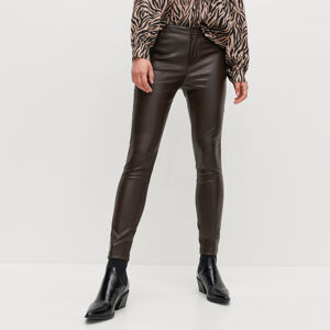 Reserved - Koženkové kalhoty - Hnědá