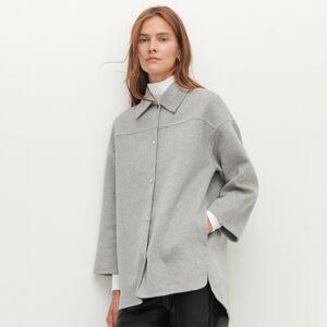 Reserved - Košilová bunda spříměsí vlny - Světle šedá