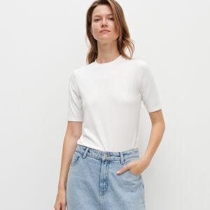 Reserved - Jednobarevné tričko Basic - Krémová