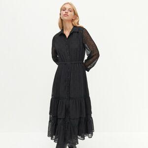 Reserved - Šaty z látky plumeti - Černý