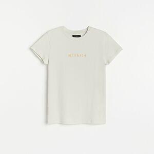 Reserved - Bavlněné tričko s nápisem - Světle šedá