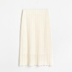 Reserved - Žerzejová sukně sažurovým vzorem - Krémová