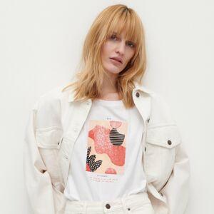 Reserved - Tričko sflitrovým zdobením - Bílá