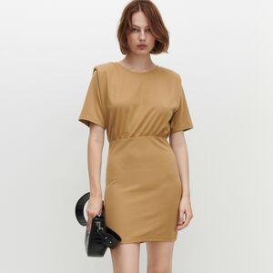 Reserved - Žerzejové šaty skrátkým rukávem - Béžová