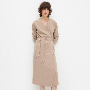 Reserved - Zavinovací šaty zmelanžového žerzeje - Béžová