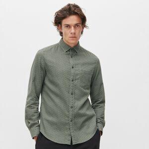 Reserved - Košile regular ze strukturované látky - Khaki