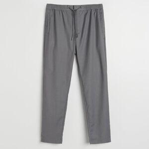 Reserved - Kalhoty chino snažehlenými puky - Světle šedá