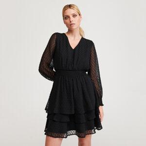 Reserved - Šaty zlátky plumeti - Černý