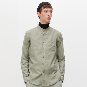 Reserved - Hladká košile se stojáčkem - Khaki