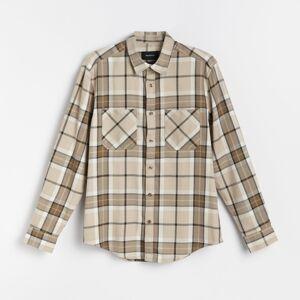 Reserved - Kostkovaná košile REGULAR FIT - Béžová