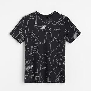 Reserved - Tričko slineárním potiskem - Černý